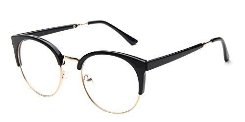 BOZEVON Klare Linse Transparente Gläser - Runde Ultradünne Metallrahmen Lesebrille Dekor Retro Brillen Brillen Für Männer Frauen Helle Schwarz (Halber Rahmen) (Brille Klare Linse Schwarzen Rahmen)