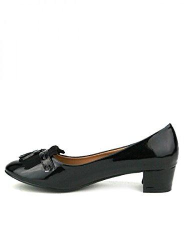 Cendriyon, Ballerine Noire Vernie ELISABETH Chaussures Femme Noir