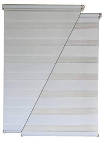 Doppelrollo 135x200cm weiß Klemmfix ohne Bohren Vario Seitenzug Duorollo
