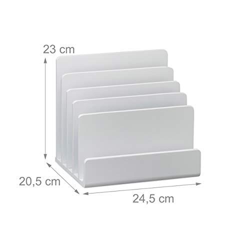 Relaxdays Dokumentenhalter Bambus, Briefablage, 5 Fächer Ordnungssystem, Schreibtisch Organizer HBT 23x24,5x20,5cm, weiß - 4