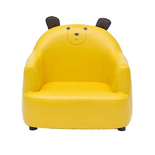 Kindersessel, Kinder sessel Pu Leder Couch Leicht zu reinigen, Single Cartoon Cute Kleines Sessel Boy und Girl Kindersessel,Gelb,56x52x48cm(22x20x19inch) (Kinder Kleine Couch)