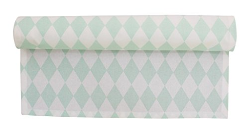 Krasilnikoff - Tischläufer, Läufer - Harlekin, Raute - Farbe: Mint Grün - 160 x 50 cm - 100 % Baumwolle (Harlekin-baumwolle)