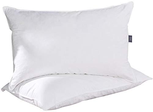 Puredown® Almohadas Lavables Blancas Pack de 2 Almohada de Plumas y Plumón de Ganso Antiácaros Funda...