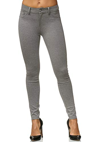 Elara Damen Stretch Hose Skinny Fit Jegging Chunkyrayan H01-21 Light Grey 42 (XL)