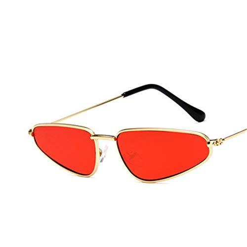 Lafeil Sonnenbrille Klar Damen Sonnenbrille Vintage Retro Gold Rahmen Fahrradbrille Gold Rot