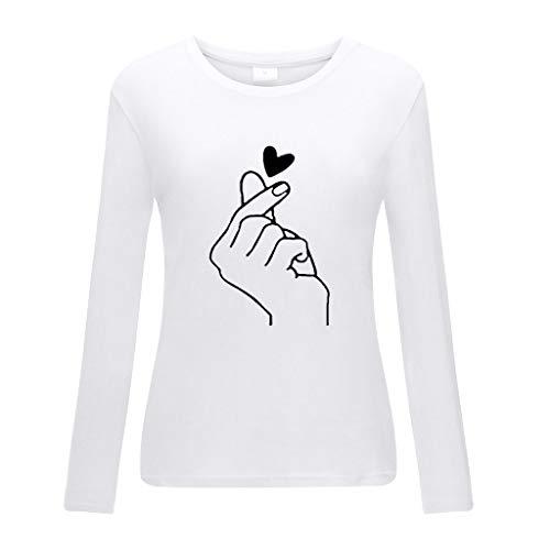 Promi Top Kostüm - DOFENG Damen T Shirt Bluse Sweatshirt Damen Lange Ärmel Mode Locker Volltonfarbe Sonnenblume Drucken Lässig O Hals Pullover Oberteil Tops (Weiß, XXX-Large)