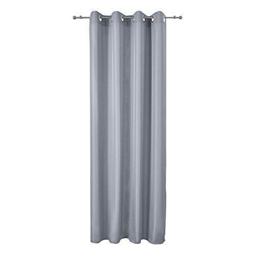 Beautissu Fenster Vorhang Ösen-Vorhang Amelie - 140x245 cm Grau - Dekorative Gardine Ösenschal Fenster-Schal