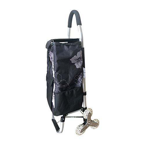 Carrello pieghevole su 6 ruote, carrello per le scale, carrello per la spesa nero con telaio in alluminio inossidabile e borsa di tela impermeabile rimovibile (28 x 33 x 105 cm)