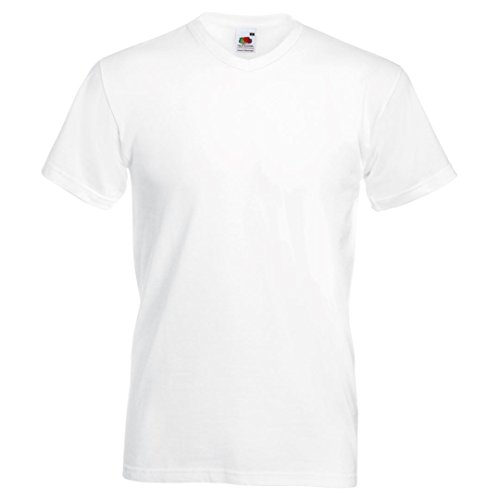 Fruit of the Loom Valueweight t-shirt col v Blanc
