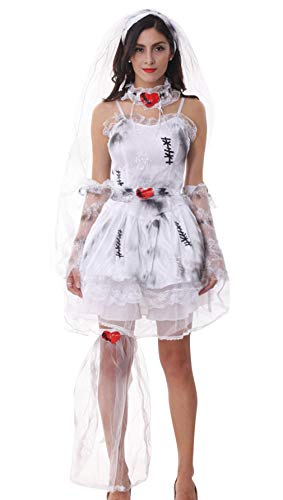 Cloud Kids Damen Zombie Braut Kostüm Halloween Geist Kostüme Cosplay (Medium)