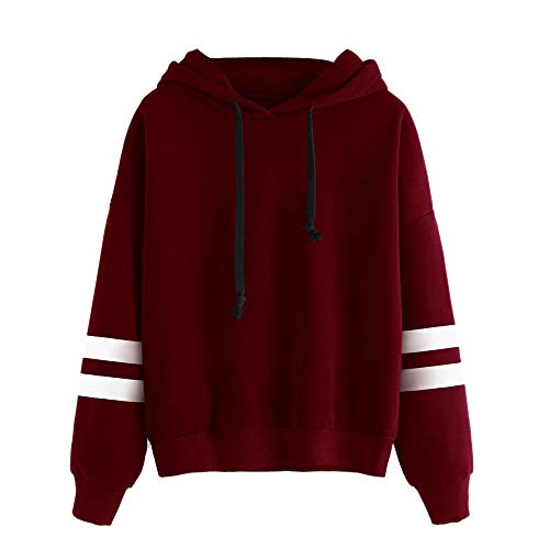MODEOR Women Long Sleeve Hoodie Sweatshirt Jumper Hooded Pullover Tops Blouse (Wine Red) Charmeuse-print-shorts
