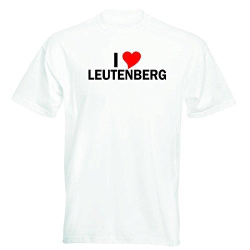 T-Shirt mit Städtenamen - i Love Leutenberg - Herren - unisex Weiß