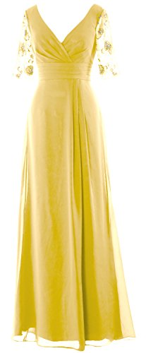 MACloth Women Half Sleeves Long Mother of the Bride Dress V Neck Formal Gown Canary