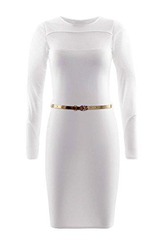 Damen-Empire-Taille-Midi-Cocktail-Kleid White