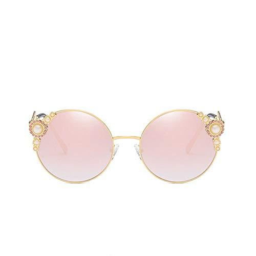 Yuanz Runde randlose Sonnenbrille Frauen Vintage Diamant kristall Sonnenbrille weibliche verspiegelte linse gläser uv400,D