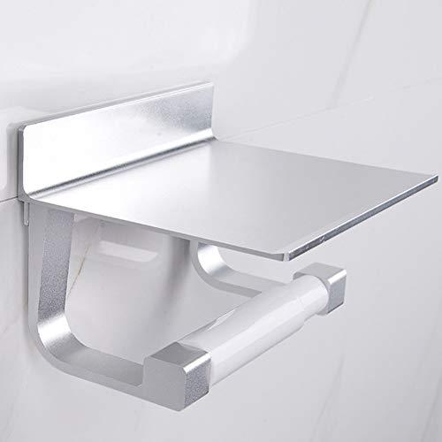 SDYDAY Toilettenpapierhalter, Badezimmer-Tuchhalter mit Handyablage ohne Bohren, Multifunktionale Küchenwandhalterung, Papierständer, selbstklebend, Silber, Free Size