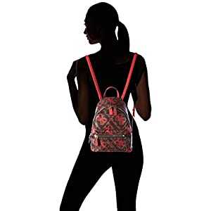 31zCT7OKGKL. SS300  - Guess - Leeza Backpack, Mujer, Multicolor (Red Multi), 22x29x10.5 cm (W x H L)