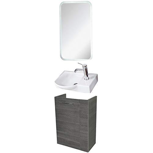FACKELMANN Badmöbel Set Vadea Gäste WC 3-TLG. 45 cm anthrazit mit Waschbecken Unterschrank & Keramikbecken & LED Spiegelelement