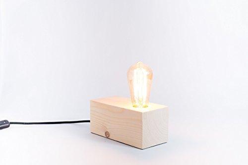 Lámpara de madera, lámpara edison, lámpara handmade, lámpara de me