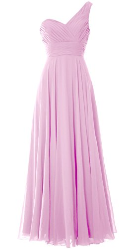 MACloth Women One Shoulder Long Bridesmaid Dress Wedding Party Evening Gown Rosa