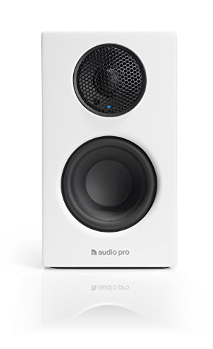 Audio Pro Addon T8L Aktiver Regallautsprecher mit Bluetooth (1 Paar mit Aluminium-Fernbedienung, 2 x 30W) Weiß (Audio-regal)
