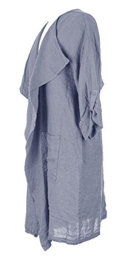 Mesdames Womens Lagenlook italienne excentrique cascade lin Plain Flap panneau veste Shrug Bolero Cardigan unique Taille Plus Bleuet