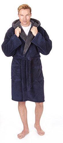 Herren Luxus Kuschlig Fleece mit Kapuze Bademantel (Größen M-2XL) Dick Warm Plüsch Bade Robe - Marine, X-Large (Fleece Herren-robe)