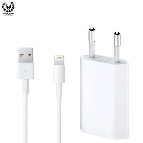 TSI CARICA BATTERIA per Apple iPhone Originale 1A 5W 1400 + CAVO Lightning MD818 Originale Apple 100% 1 Metro Bianco per Apple iPhone Originale 5 5C 5S 6 SE 6S 7 8 X (KIT 2 in 1 spina alimentatore EU + cavetto 1 Metro bianco ricarica e trasmissione dati) IN BULK PACK