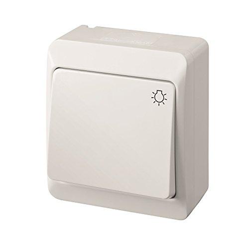 Taster Aufputz weiss einfach IP44 Feuchtraum Licht