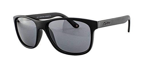 Edison & King Sonnenbrille im modernen Design - mit polarisierenden Gläsern - in verschiedenen Farben (Schwarz mit grauen Gläsern)