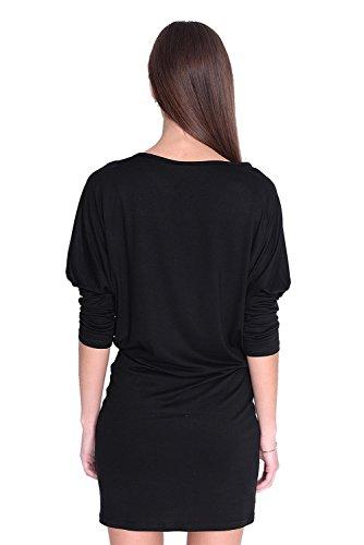 Damen Shirt Top Oberteil Kleid Dress Longshirt Minikleid mit Fledermausärmel, verschiedene Farben, Gr. XS S M L XL 2XL 3XL Schwarz