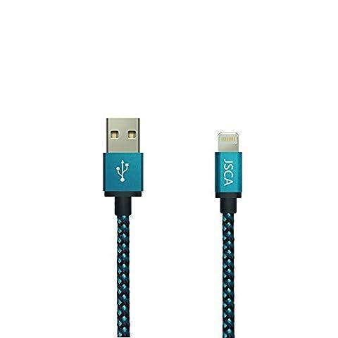 IPhone Câble 3m / 10ft JSCA Nylon Braided Lightning Cable / iPhone Câble pour iPhone 6 / 6s / 6 plus / 6s plus / 5 / 5s / 5c / SE / 7/7 plus - 3 m (9.8ft) - BLEU