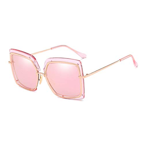 MWPO Sonnenbrille Fahren im Freien Einkaufen Dekoration Großer Rahmen Anti-UV-Sonnenschutz Frauen Sonnenschutzbrillen (Farbe: Pink Lens)