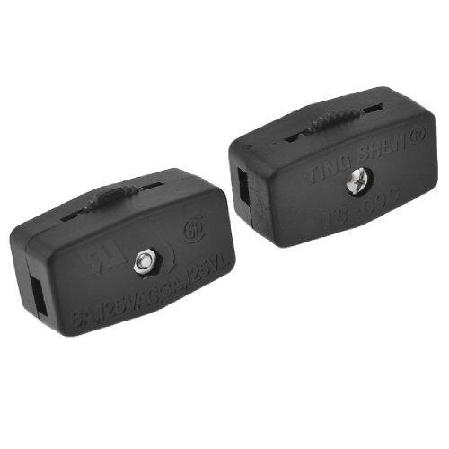 2ST Kunststoffgehäuse schwarz On / Off Daumenrad-Licht-Lampe Inline-Schalter AC 125V 6A (Inline-lampe Schalter)