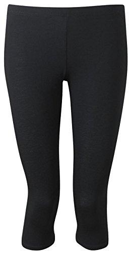 Queenshiny Damen Modal Kurze Leggings Übergröße (Schwarz (Imitation Seide))