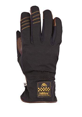 HELSTONS One Lady - Guanti da moto invernali in tessuto di pelle, colore: nero/cammello, taglia 7