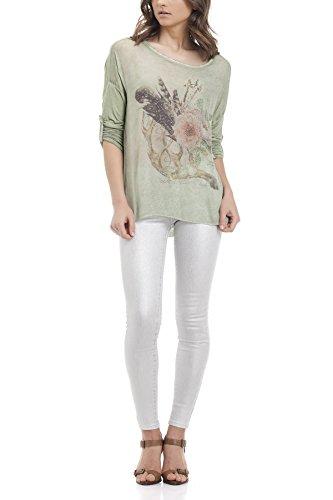 Laura Moretti Asymmetrische Seidenbluse mit verziertem Blumendruck Grün