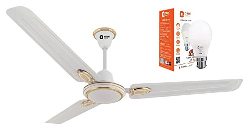 Orient Electric Pacific Air Decor 1200mm Ceiling Fan (White) with  Free 7w Led Bulb