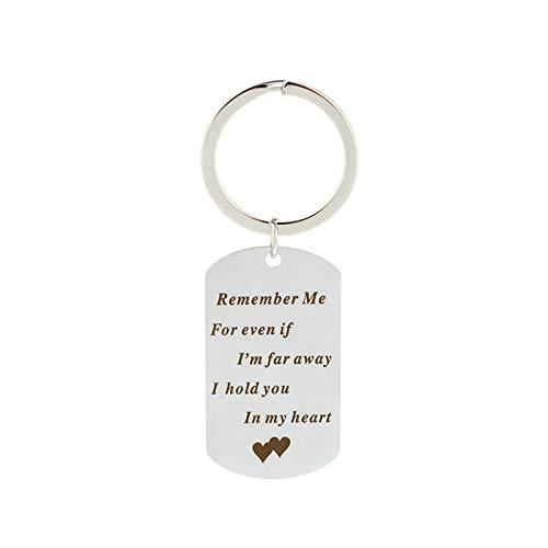 Coniea Schlüsselanhänger Dog Tag Remember Me for Even If I'm for Away. Schlüsselanhänger Damen Silber Silber Schlüsselanhänger Edelstahl Geschenk Unisex