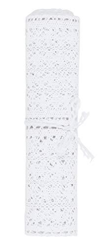 Tischdecke Tischläufer MIRTHE   30 x 140 cm   Baumwolle   Polyester   Weiß   Häkeloptik