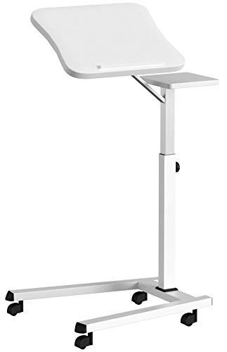 Tatkraft Like Table pour Ordinateur Portable Surface Souris avec Roues Réglable en Hauteur Blanc 67 X 52 X 70-99.5H cm