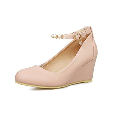 balamasa Mesdames massif kitten-heels Round-Toe Boucle Chaîne en Métal en caoutchouc pumps-shoes Rose