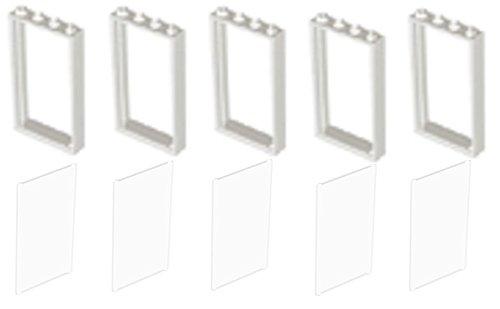 Preisvergleich Produktbild LEGO CITY - 5 Fensterrahmen + 5 Scheiben mit 1x4x6 Noppen - insgesamt 10 Teile