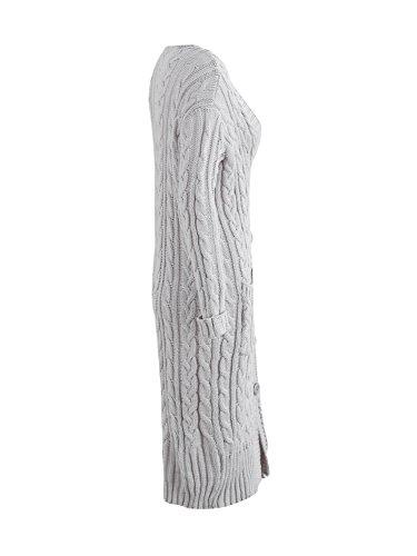 3a28b411e0c4 ... Simplee Apparel Damen Lang Strickjacke V-Ausschnitt Kabel Cardigan  Strickmantel mit Taschen Grau ...