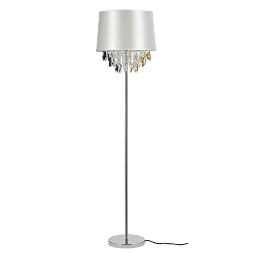 [lux.pro] Stehleuchte Stehlampe 1 x E27 Sockel 165 cm x Ø 40 cm Chromfuß + Stoffschirm silber Kristallbehang Lampe Wohnzimmerlampe Leuchte Standleuchte -
