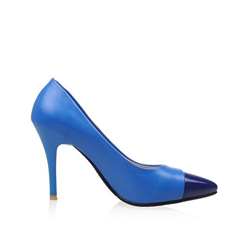 Adee Femme spikes-stilettos brevet Chaussures Pompes en cuir Bleu - bleu