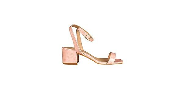 Sandales à bride talon carré cuir effet croco LILLA