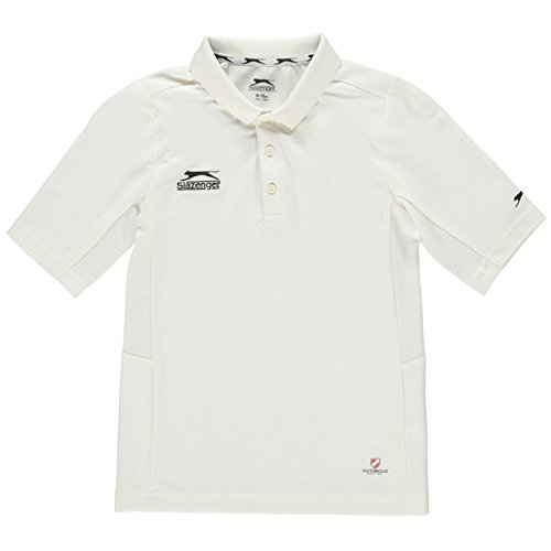 slazenger ragazzo junior 3/4 polo t shirt cricket colletto 3 bottoni sport bianco xl