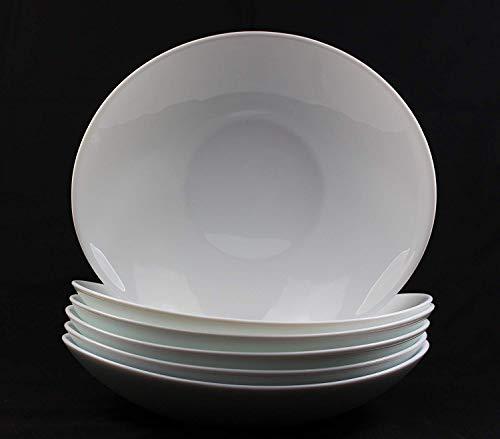 Fitting Gifts Bistro Collection Assiettes Creuses Prometeo de Forme Ovale, Blanc Brillant (6 Pièces)