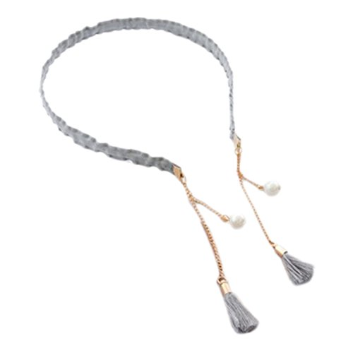 2PCS Fashion Hairpin with False Tassel Earring Headbands Hair Accessories-Gray